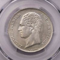 PCGS-MS63 1849 BELGIUM 2-1/2FRANCS SILVER BU POP TOP