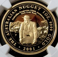 2001 P GOLD AUSTRALIA $100 PROSPECTOR 1oz NGC PROOF 70 ULTRA CAMEO ONLY 1323 MINTED