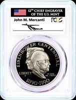 1990 P $1 Proof Silver Eisenhower Centennial PCGS PR70 DCAM Mercanti Signed Mint Engraver Series Masters Collection