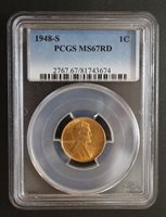 1948 S Lincoln Cent Wheat Ears Reverse PCGS MS 67 RD