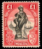 1922, £1 ROSE CARMINE & BLACK MINT, #114a, fresh, h.r., very fine, cat. $150.00 (Photo)