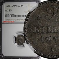 2 Skilling World Coins Norway Silver 1871 Ngc Au55 1 Year Type Better Variety Km# 336 2