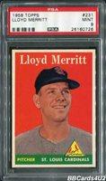 1958 Topps #231 LLOYD MERRITT PSA 9 MINT Low Pop 1/6! NONE higher! Cardinals