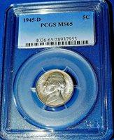 1945-D 5C Jefferson Nickel-PCGS MS65--171-3