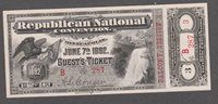 1892 NATIONAL REPUBLICAN CONVENTION TICKET, GEM CONDITION. THIRD DAY.