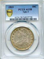 1823 Ugly 3 Capped Bust Half Dollar PCGS AU58 ~ 50c (34835758)