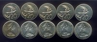 WHOLESALE 10 TERN BIRD in FLIGHT & QEII COINS ( 20¢ ) of 1983 COOK ISLANDS KM# 5