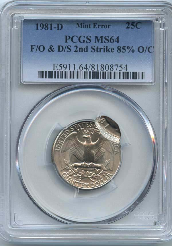 1981-D Washington Quarter Flipover Double Struck PCGS MS-64 Error Coins