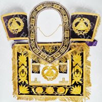 FULLY HAND EMBROIDERED DEPUTY GRAND MASTER APRON WITH COLLAR & CUFFS PURPLE-HSE