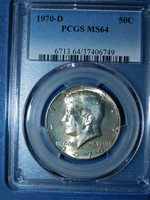 1970-D 50C Kennedy Half Dollar-PCGS MS64--458-1