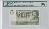 5 Gulden Netherlands P 90b 1966 Pmg 64