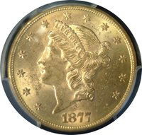 1877 $20. Liberty Gold ~ Key Date ~ PCGS MS-62 OUTSTANDING APPEAL 1st Yr Issue