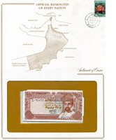 Oman 100 Baisa Pick #: NP - 1 1987 UNC (looks UNC) envelope has wearOther Official Banknotes of Every Note in Envelope with map, stamp, and information Multicolored Sultan Qaboos Bin Sa'id; Port Qaboos Asia and the Middle East Sultan Qaboos Bin Sa'id