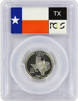 2004-S 25c TX Texas SILVER State Flag Label Quarter Proof Coin PCGS PR70DCAM TX