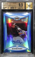 2008 Bowman Draft Chrome Prospects Buster Posey Blue Refractor On Card Autograph BGS 9.5, Autograph Grade 10