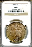 1878-S Morgan Silver Dollar NGC MS63 ~ $1 (3382998-001) COLOR!