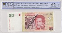 1999 Argentinien 20 Pesos Jean Manuel de Rosas 1998 Spécimen Pcgs 66 Opq