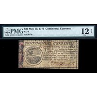 FR. CC-009 $20 May 10, 1775 Continental Currency PMG 12 NET