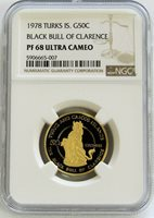 1978 GOLD TURKS & CAICOS 269 MADE BLACK BULL QUEENS BEAST NGC PF 68 UC 50 CROWN