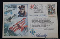SMGL-140 WW1 pilot Signed comemorative Envelope 5 famous signatures!