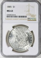 1885 MORGAN SILVER DOLLAR - NGC MS 63 - CREAMY WHITE LUSTER, VERY NICE COIN