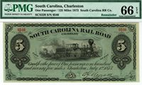 South Carolina Railroad Company. Strong color PMG 66 EPQ GEM Uncirculated. Train