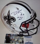 Drew Brees - Autographed Official Full Size Riddell Flat White Authentic Speed Proline Football Helmet - New Orleans Saints - BAS Beckett Authentication