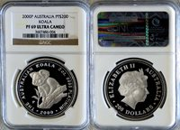 "2000 PERTH MINT PLATINUM AUSTRALIA $200 COIN NGC PROOF 69 ULTRA CAMEO ""KOALA 2 OZ"" ONLY 202 MINTED"