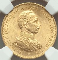 1914-A German States Prussia. Wilhelm II gold 20 Mark NGC MS64 NEAR GEM LUSTER