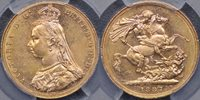 1887 Melbourne Jubilee Head Sovereign - PCGS MS62