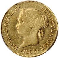 1868 Peso Spanish Philippines AU58 PCGS