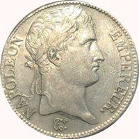 France 1808-B Silver 5 Francs; Napoleon Emperor; Rouen mint; Nice AU
