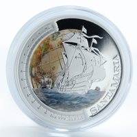 Tuvalu 1 Dollar Ship Santa Maria silver proof colorized coin 2011