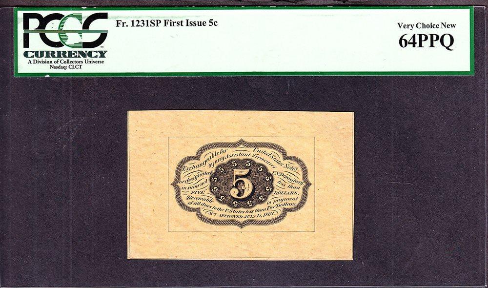 123 Fr us 5c fractional currency reverse specimen spwmb fr 123