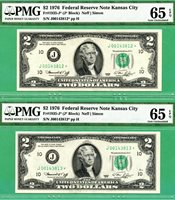 *** TWO CONSECUTIVE 1976 $2 KANSAS CITY STARS *** PMG GEM 65 EPQ *** Fr 1935-J*