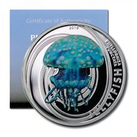 Pitcairn Islands White-spotted Jellyfish $2 2010 Proof Silver Crown -COA