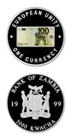 Zambia 100 Euro Commemorative Of Eu Single Currency 1999 1000 Kwacha Proof Crown