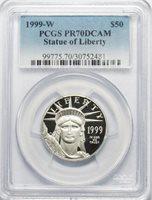 1999 W $50 1/2 Oz. Platinum Statue of Liberty PCGS PR70DCAM
