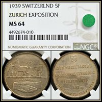 1939 Silver Switzerland Zurich Expo 5 Francs NGC MS64 Unc Toned Swiss 5F Coin