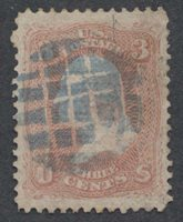United StatesScott #88 (2014 Scott Value $27.50), Used, Fine 3c Washington with small faults & vf blue grid cancel.Stamp #48586 | Price: $25.00Add To Cart