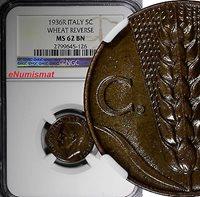 5 Centesimi World Coins Italy 1936 Ngc Ms62 Bn Wheat Reverse Scarce Km# 59
