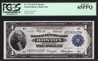 $1 1918 Federal Reserve Bank Note Boston FRBN FR 710 PCGS 65 PPQ