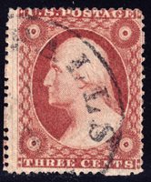 #26A - 3 Cents 1857, 11R10i with Centerline at left, part of 20L, black CDS