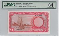 1 Pound Gambia P 2a Nd1965-70 Pmg 64