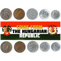 5 HUNGARIAN COINS. DIFFERENT COINS FROM EUROPE. FOREIGN CURRENCY, VALUABLE MONEY