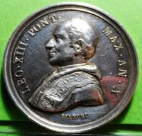 VATICAN MEDAL - Pope LEONE XIII,1888, Silver, 30mm, 10,5grs.