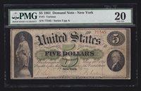 US 1861 $5 Demand Note New York FR 1 PMG 20 VF (-545)