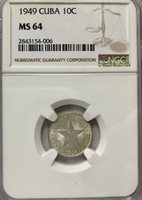 1949 Star 10 Centavos – Silver – NGC MS64