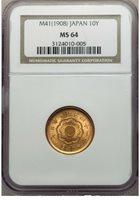 G036 Meiji gold 10 Yen Year 41 (1908) NGC MS64