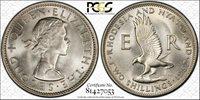 Rhodesia & Nyasaland 2 Shillings 1957 MS65 PCGS KM#6 FINEST POP 3/1 GEM WHITE